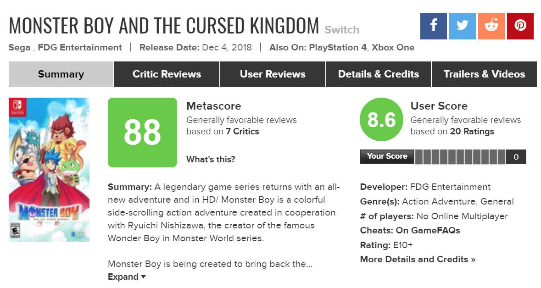 Monster Boy has finally released!!   Monster Boy Development Blog